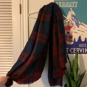 H&M Red and Navy Plaid Blanket Scarf